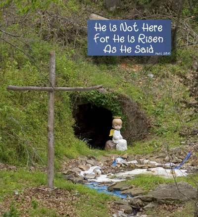 Image result for caVE he is risen precious moments